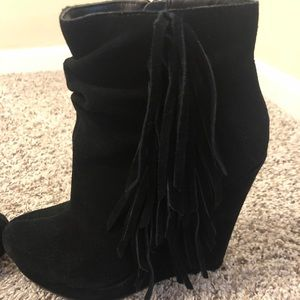 Express suede wedges